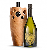 Wine Accessories & Decanters: Dom Perignon 2005 with Handmade Wooden Wine Vase