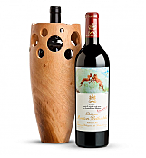 Premium Wine Baskets: Chateau Mouton Rothschild 2012 in Handmade Wooden Wine Vase