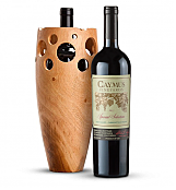 Premium Wine Baskets: Handmade Wooden Wine Vase with Caymus Special Selection Cabernet Sauvignon 2012