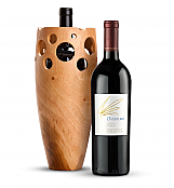 Wine Accessories & Decanters: Opus One Overture with Handmade Wooden Wine Vase