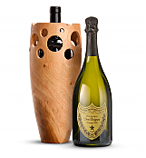 Wine Accessories & Decanters: Dom Perignon 2006 with Handmade Wooden Wine Vase