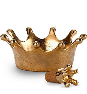 Wine Accessories & Decanters: Artisan Crown Wine Stopper and Serving Caddy