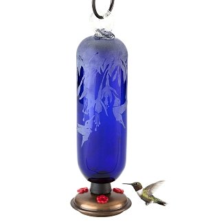 Hand-Blown Hummingbird Feeder