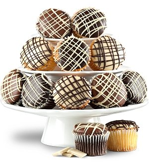 One Dozen Chocolate Dipped Cupcakes