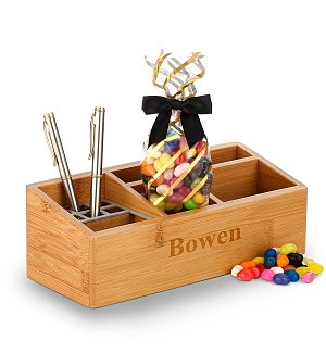 Engraved Bamboo Desk Organizer with Jelly Beans