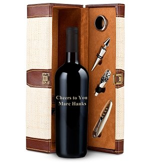 Customized Bottle of Wine & Travel Tote