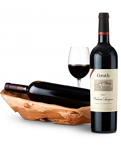 Root Presentation Bowl with Groth Reserve Cabernet Sauvignon 2008