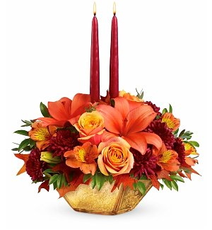 Fallen Leaves Golden Centerpiece