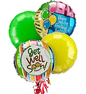 Get Well Balloon Bouquet-4 Mylar