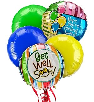 Get Well Balloon Bouquet-5 Mylar