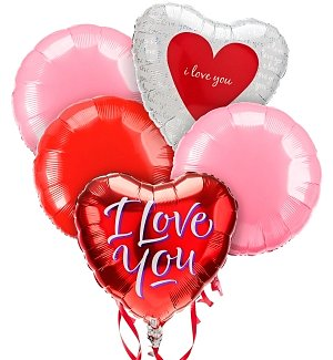 Love & Romance Balloon Bouquet-5 Mylar