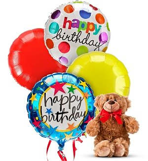 Birthday Balloons & Bear-4 Mylar