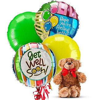 Get Well Balloons & Bear-4 Mylar