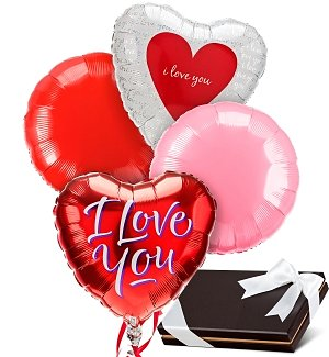Love & Romance Balloons & Chocolates-4 Mylar