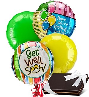 Get Well Balloons & Chocolates-4 Mylar