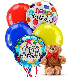 Birthday Balloons & Bear-5 Mylar
