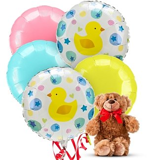 New Baby 5 Mylar Balloons w/ Teddy Bear