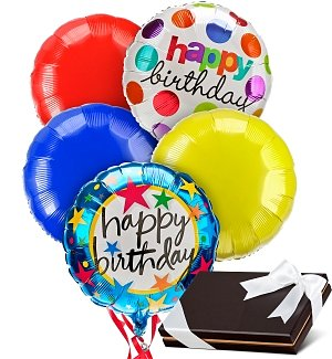 Birthday Balloons & Chocolates-5 Mylar