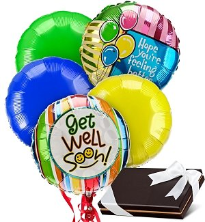 Get Well Balloons & Chocolates-5 Mylar