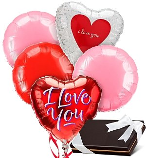 Love & Romance Balloons & Chocolates-5 Mylar