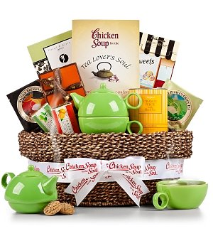 Traditional Tea Time Basket with Chicken Soup for the Tea Lover's Soul®