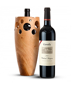 Handmade Wooden Wine Vase with Groth Reserve Cabernet Sauvignon 2008