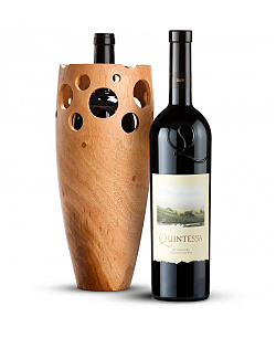 Handmade Wooden Wine Vase with Quintessa Meritage Red 2009