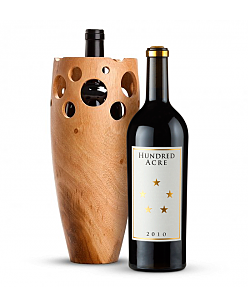 Handmade Wooden Wine Vase with Hundred Acre Ark Vineyard Cabernet Sauvignon 2010