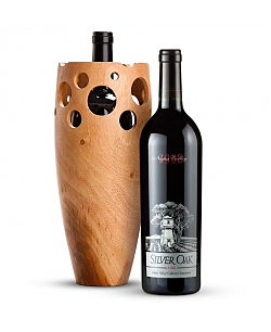 Handmade Wooden Wine Vase with Silver Oak Napa Valley Cabernet Sauvignon 2008