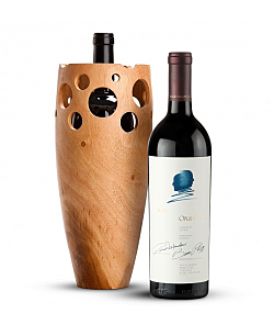 Handmade Wooden Wine Vase with Opus One 2010