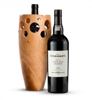 Graham's Vintage Port 2011 with Handmade Wooden Wine Vase