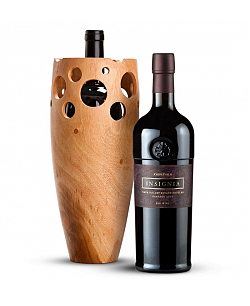 Handmade Wooden Wine Vase With Joseph Phelps Insignia Red 2009