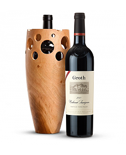 Groth Reserve Cabernet Sauvignon 2010 with Handmade Wooden Wine Vase