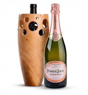 Wine Accessories & Decanters: Perrier-Jouet Blason Rose with Handmade Wooden Wine Vase