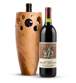 Wine Accessories & Decanters: Heitz Cellars Napa Valley Cabernet 2011 with Handmade Wooden Wine Vase