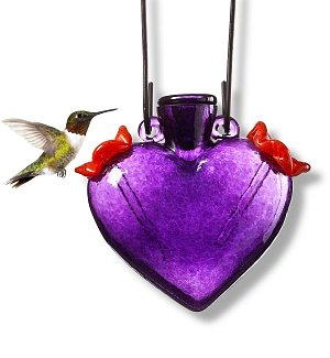 Hand-Blown Glass Heart Hummingbird Feeder