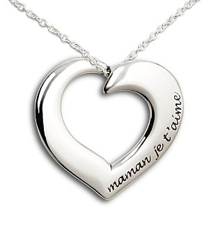 Mom, I Love You Silver Heart Necklace