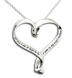 My Angel Mother Engraved Heart Necklace