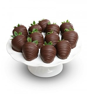 One Dozen Dark Chocolate Dipped Strawberries