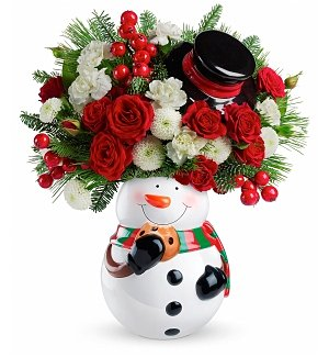 Holiday Snowman Bouquet with Cookie Jar Vase