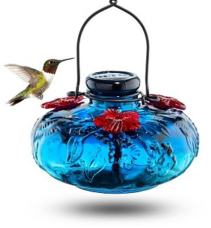 Hand-Blown Glass Hummingbird Feeder