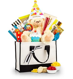 Birthday Bear and Embroidered Party Hat Gift Set
