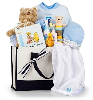 Baby Gift Baskets: Winnie the Pooh Embroidered Baby Gift Set-Boy
