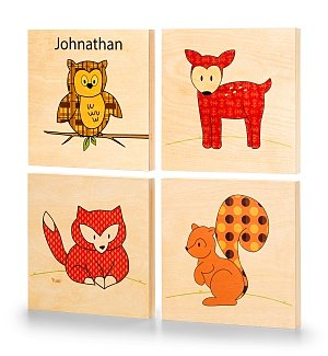 Woodland Animals Personalized Wooden Wall Art