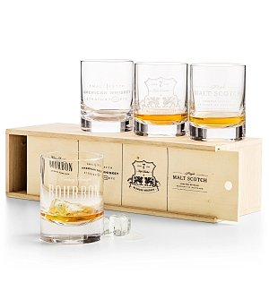 Wine Accessories & Decanters: Etched Whiskey Tumbler Set