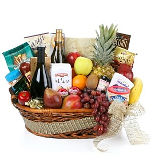 Gourmet Extravagance Fruit & Wine Basket