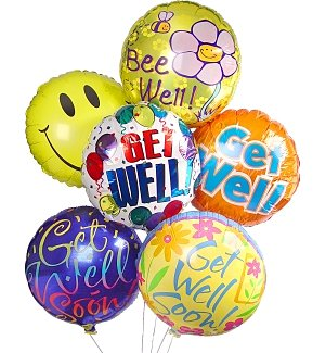 Get Well Balloon Bouquet-6 Mylar