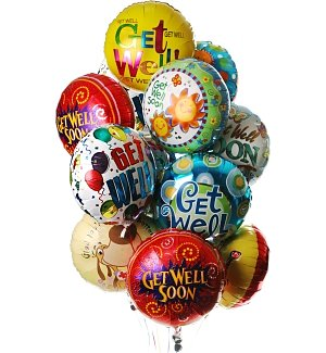 Get Well Balloon Bouquet-12 Mylar