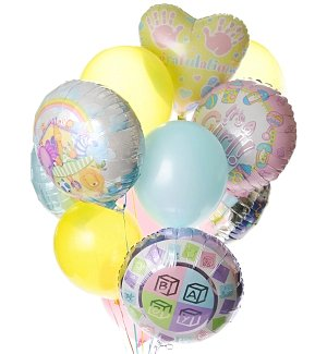 New Baby Balloon Bouquet-12 Mixed