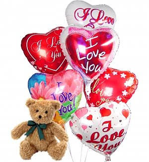 Romantic Balloons & Bear-6 Mylar
